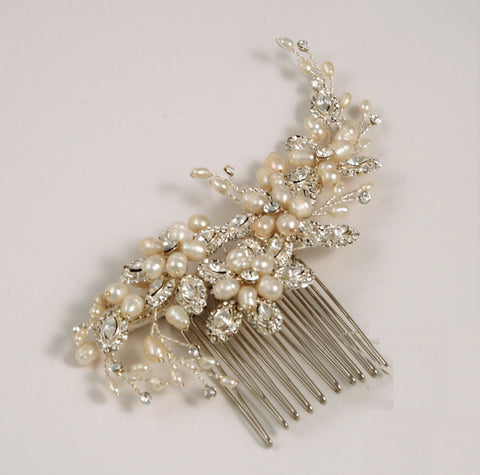 Copy of Ivory and Silver Fresh Water Pearl Side Comb AVA-170