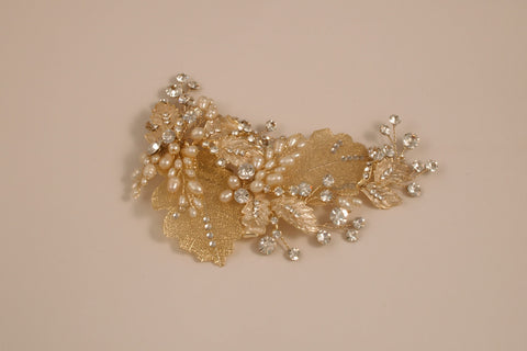 Gold Leaf and Rhinestone Hair Clip AVA-384LG