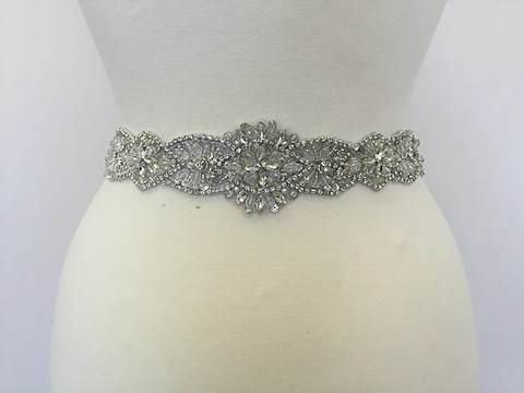 Adelle Silver Rhinestone and Crystal Ivory Belt