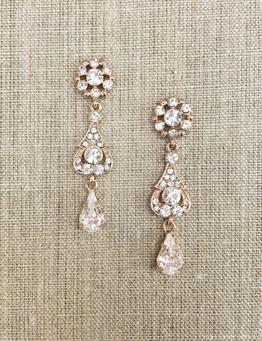 Pear shape crystal drop earrings