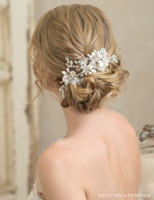 Sparkling metallic leaf and freshwater pearl comb with organza petals