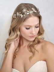 Bohemian headband of dimensional metal flowers 6840