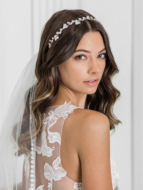 Graceful headband of tiny rhinestone flowers and marquise stones