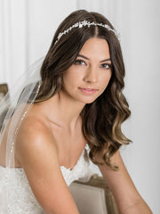 Charming headband of dainty flowers and leaves accented with crystal 6927