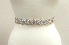 Darci Rose Gold Rhinestone Ivory Belt