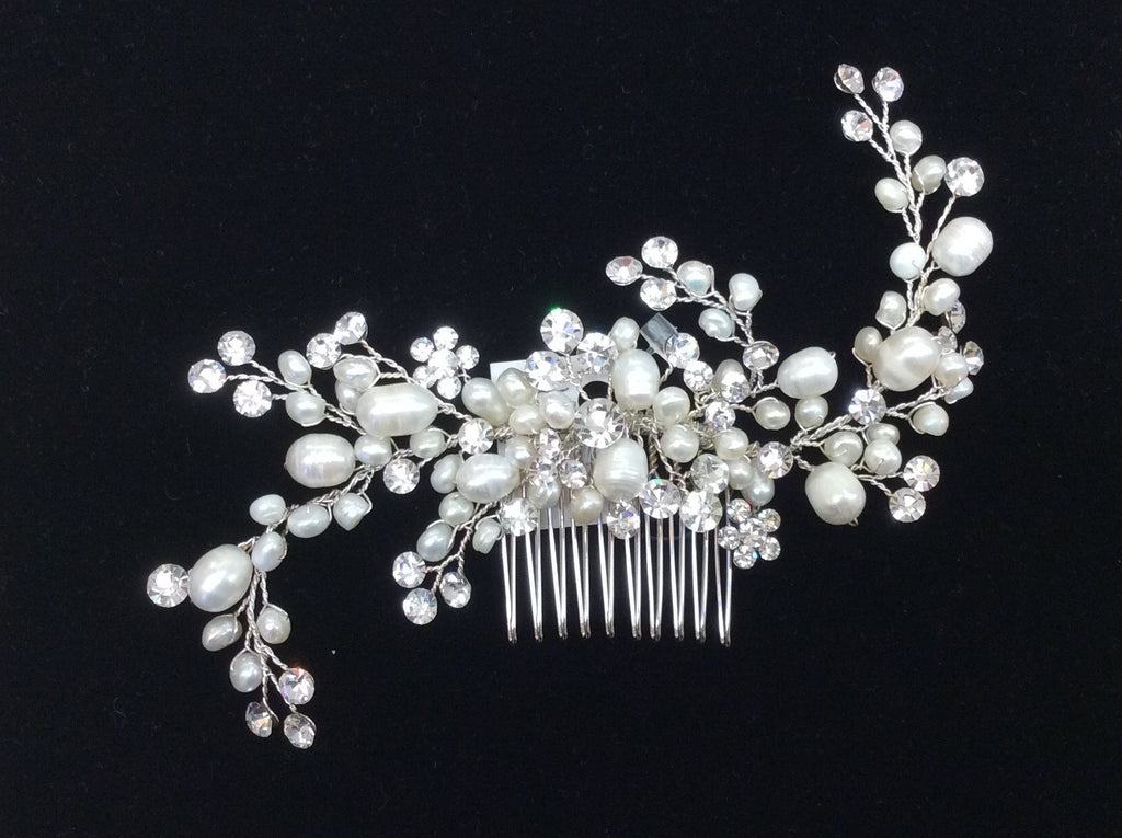 Freshwater Pearl and Swarovski crystal hair comb