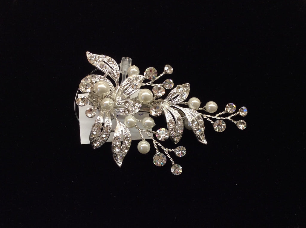Leafy pearl and crystal hair clip