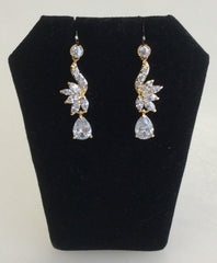 Gold CZ dainty dangle earrings