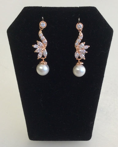 Rose Gold CZ and pearl dainty dangle earrings