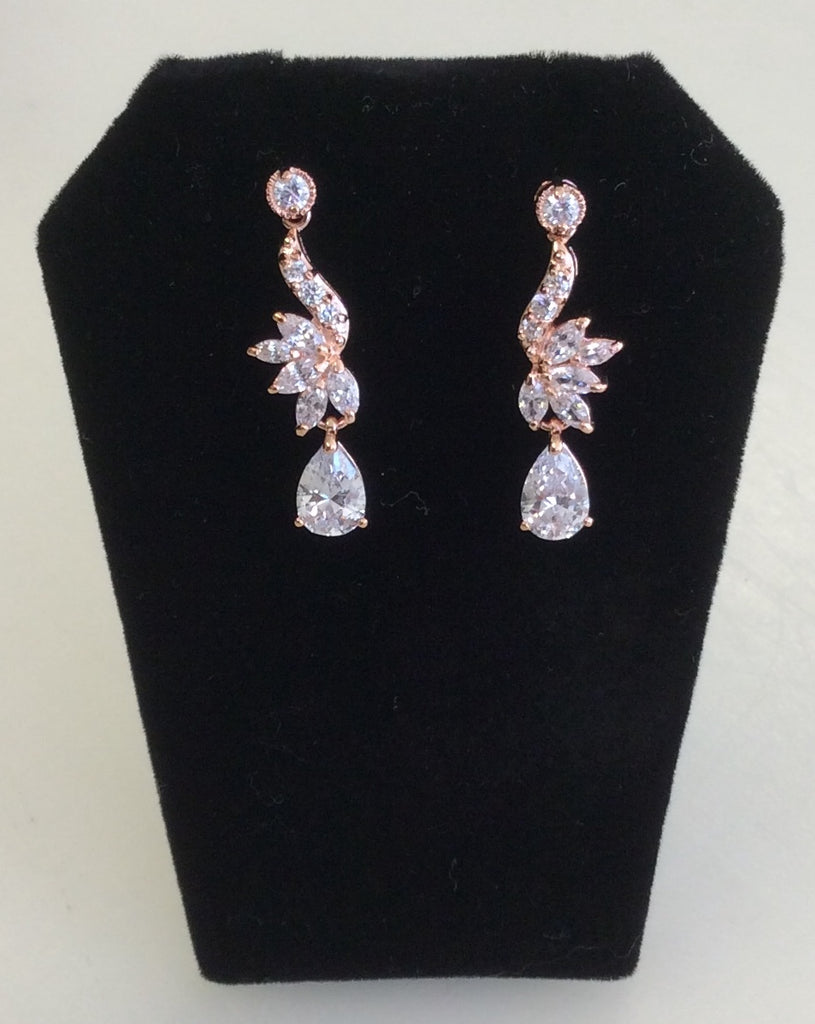 Rose Gold CZ dainty dangle earrings