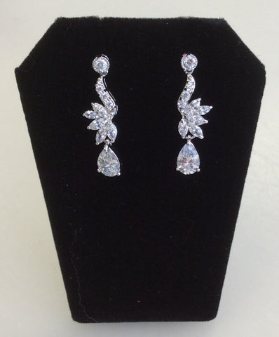 Silver CZ dainty dangle earrings