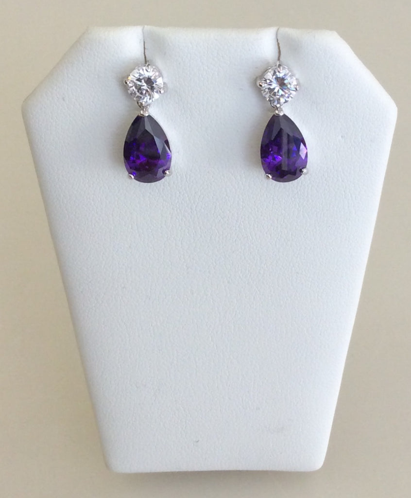Purple CZ medium teardrop dangle earrings
