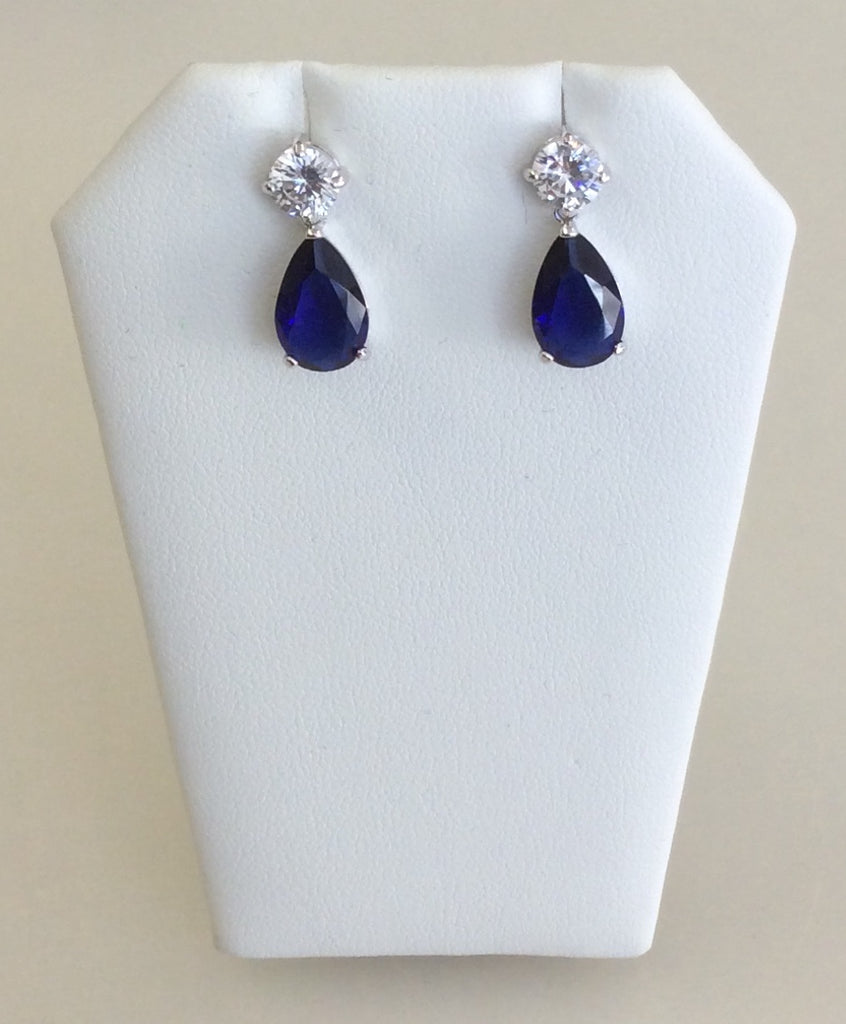 Navy CZ medium teardrop dangle earrings