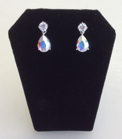 Aurora Borealis CZ small teardrop earrings
