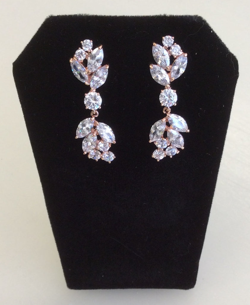 Rose Gold CZ cluster dangle earrings