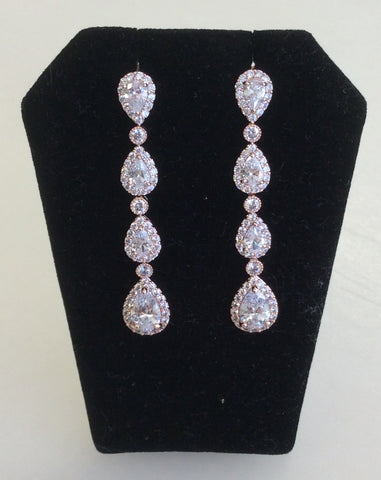 Rose Gold CZ multi-teardrop dangle earrings