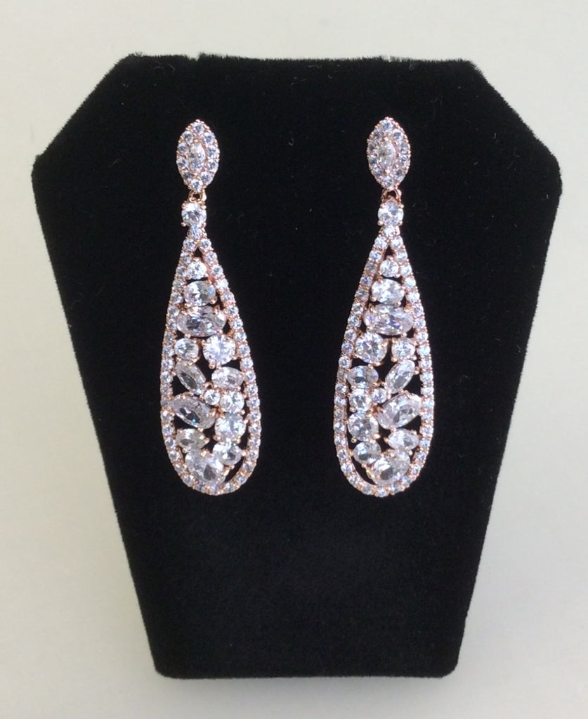 Rose Gold CZ cluster drop earrings