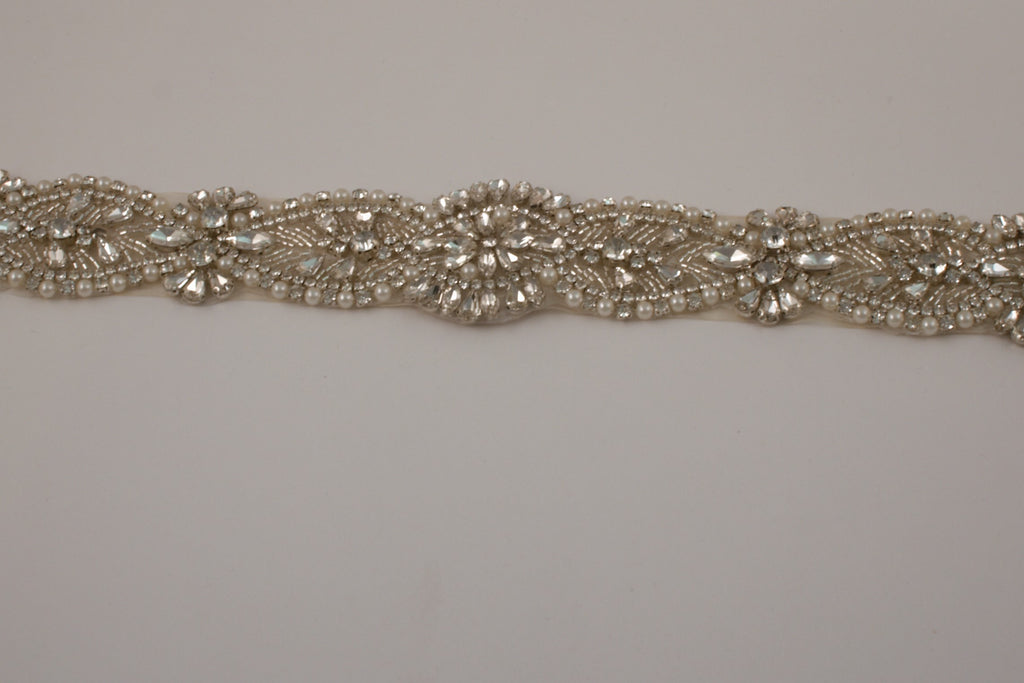 Pearl and Silver Rhinestone Ivory Belt