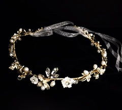 Silver Swirl Freshwater Pearl and Shell Flower Hairband