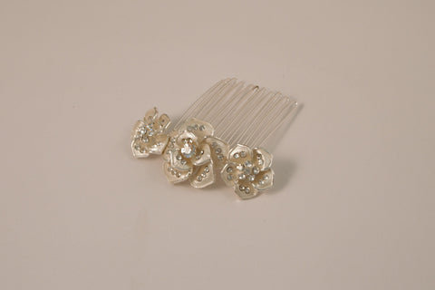 Ivory and Silver Floral Side Comb TS-131