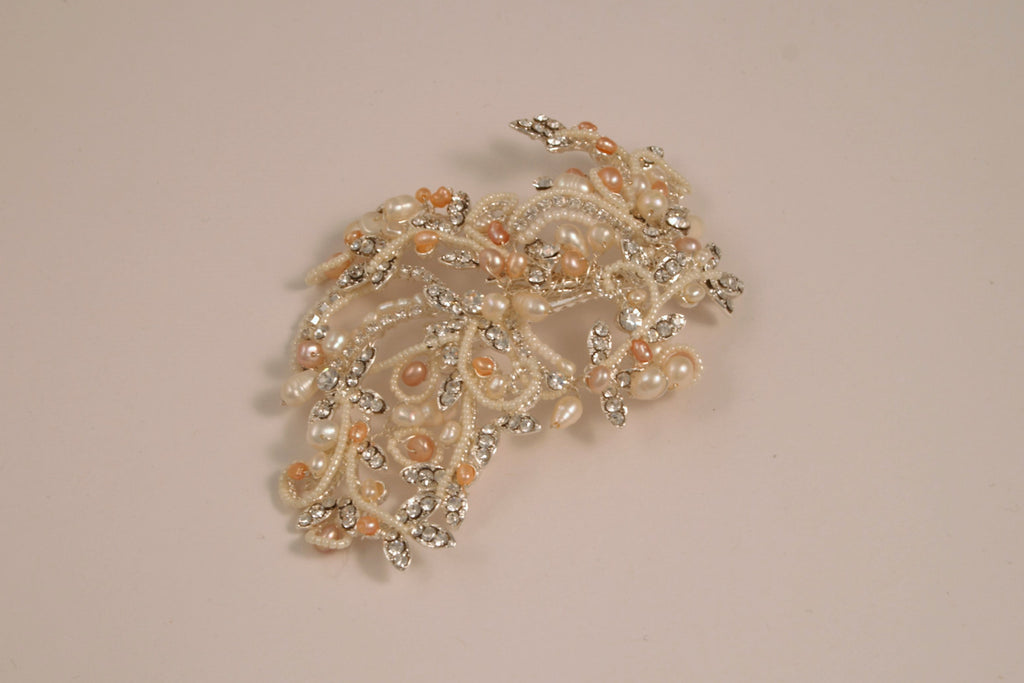 Fresh Water Pearl and Rhinestone Silver Hair Clip TS-230M