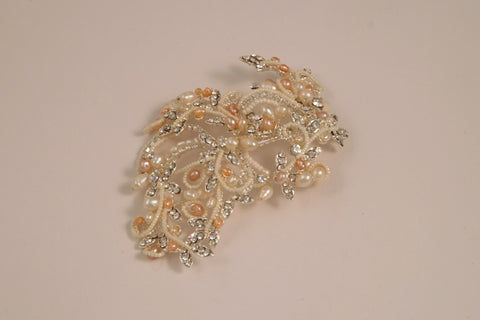 Fresh Water Pearl and Rhinestone Silver Hair Clip