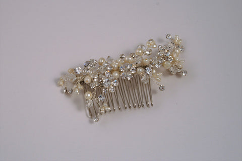 Fresh Water Pearl with Swarovski Crystal Silver Side Comb TS-187M