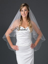 Beaded edge wedding veil V-7051