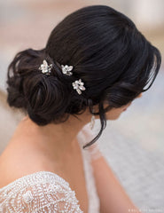 Rhinestone and pearl hairpins