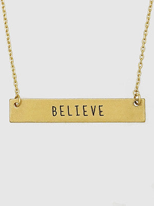 Believe Engraved Metal Bar Delicate Necklaces 61-N4179-WG