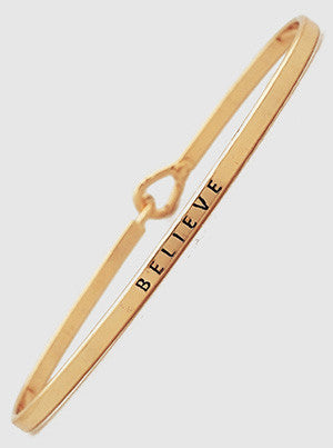 Believe Etched Thin Brass Bracelets 61-B4179-RG