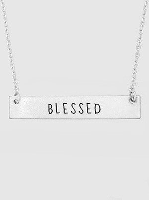 Blessed Engraved Metal Bar Delicate Necklaces 61-N4124-WS