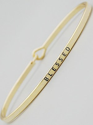 Blesssed Engraved Bangle Bracelet 61-B4124-GD