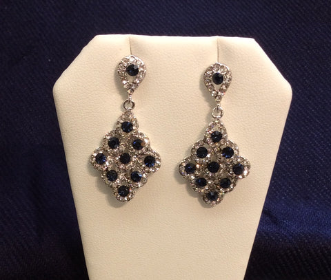 Sapphire Cubic Zirconia Dangle Earrings CE-1014