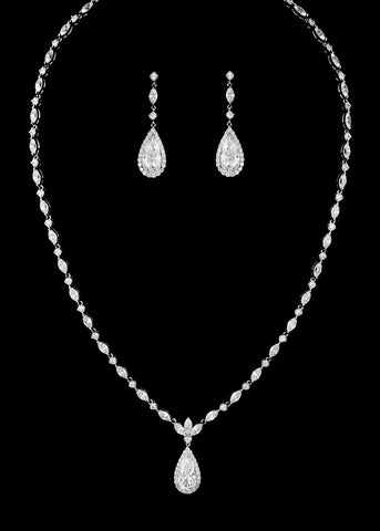 CZ Teardrop Necklace Set DR-428