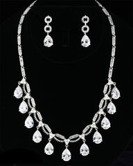 CZ Multi-Pearl Drop Necklace Set DR-215