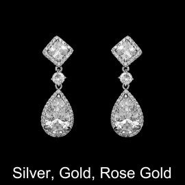 CZ square and pear dangle earrings E-7251