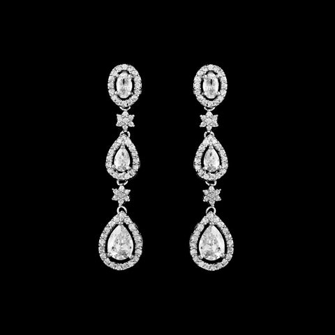 CZ Teardrop Dangle Earrings EA-198