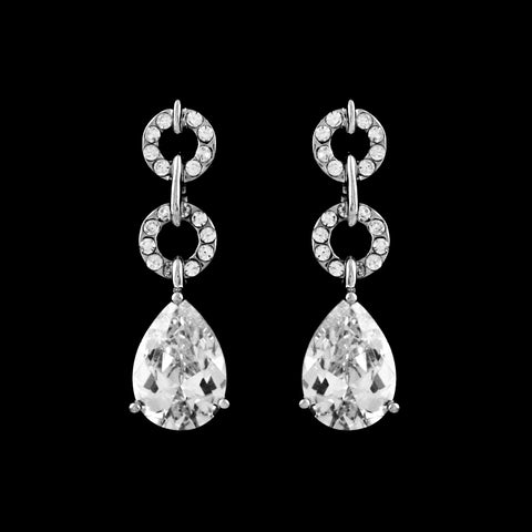 CZ Circle and Pear Drop Earrings EA-215