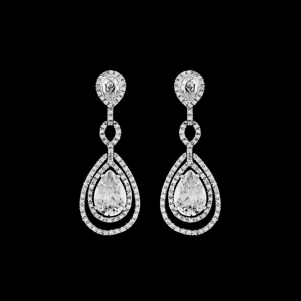 CZ Pear Drop Earrings EA-225C