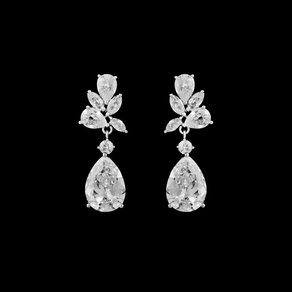CZ Pear Cluster Drop Earrings EA-337