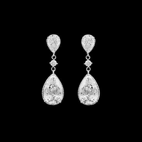 CZ Pear Dangle Clip on Earrings EA-344C