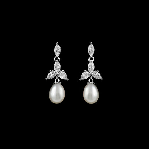 CZ and Freshwater Pearl Earrings EA-346