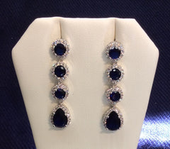 Sapphire and Cubic Zirconia 4 Tier Earrings EA-353
