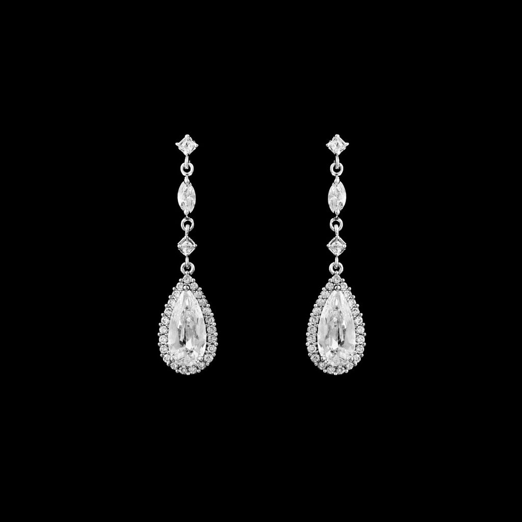 CZ Teardrop Dangle Earrings EA-362