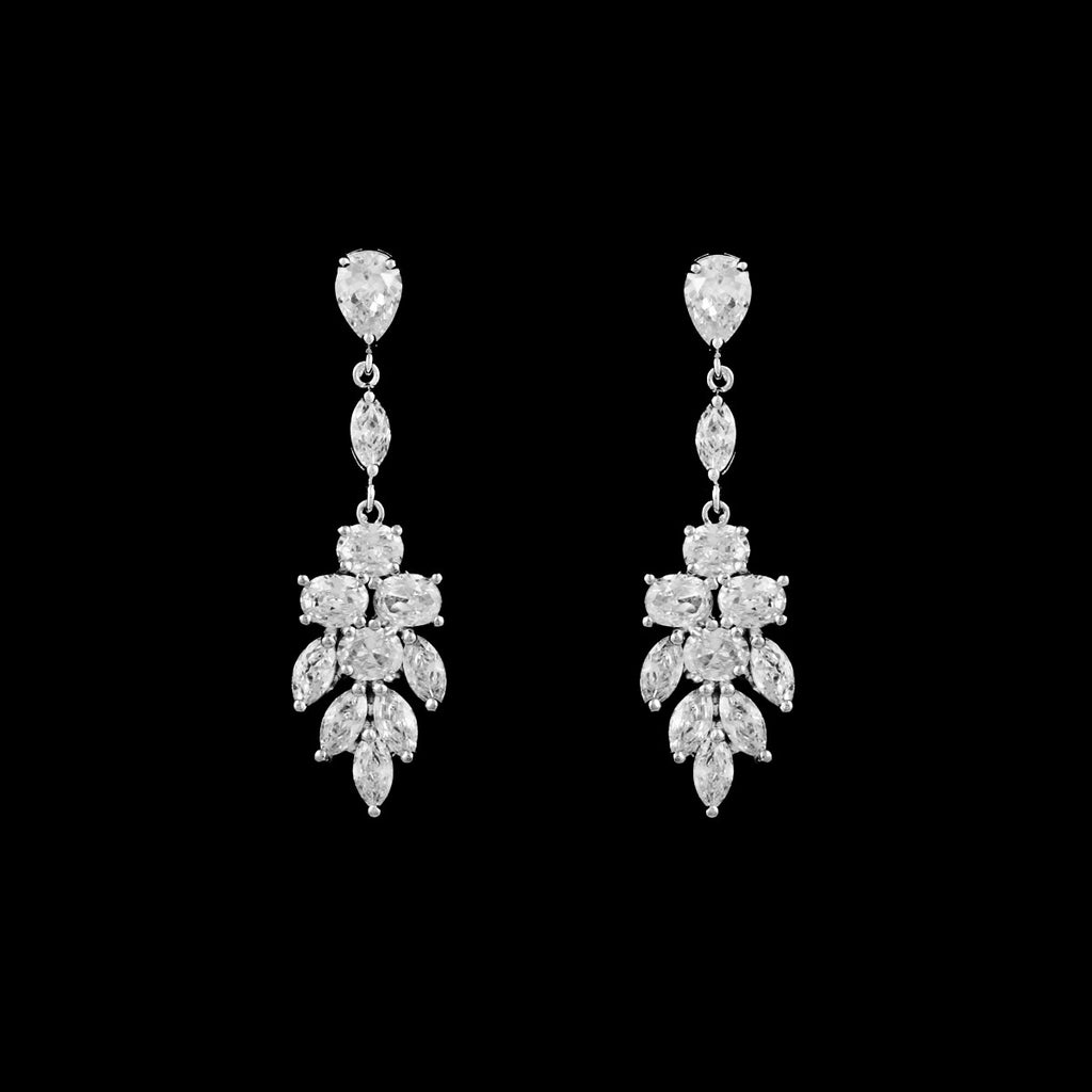 CZ Cluster Dangle Earrings EA-378