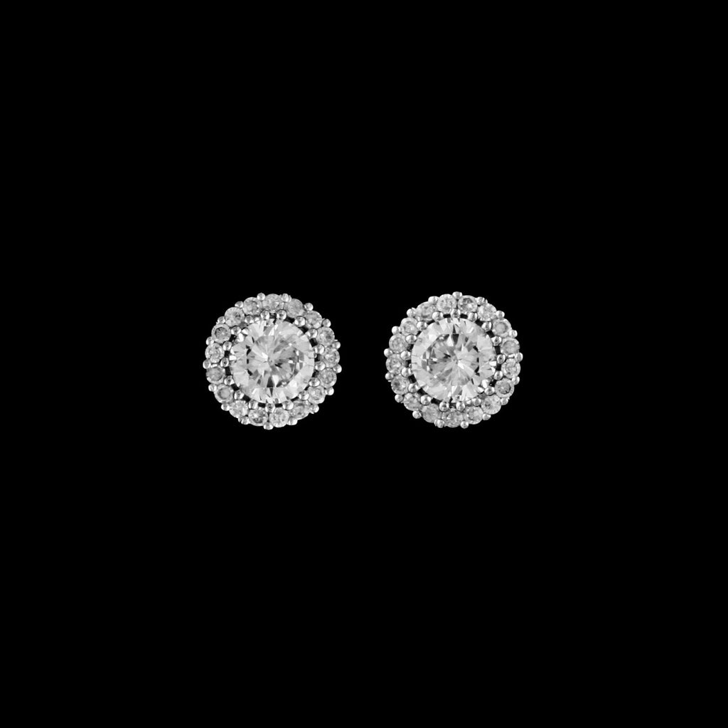 CZ Round Halo Earrings EA-387