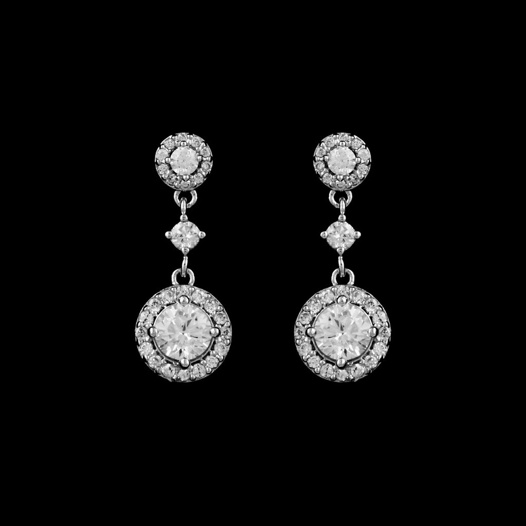 CZ Round Drop Earrings EA-427