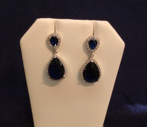 Sapphire Cubic Zirconia Dangle Earrings EA-452