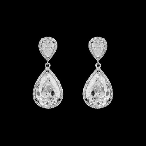 CZ pear shape Clip-on Earrings EA-452C